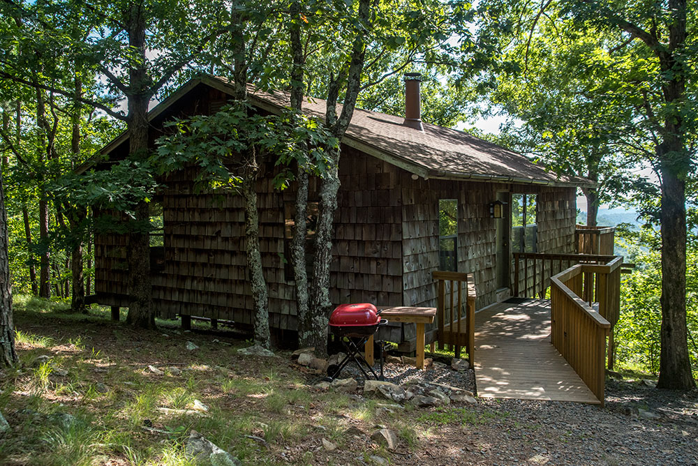 The entry to your mountaintop cabin retreat at Peckerwood Knob Cabins in Oklahoma