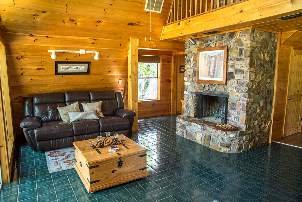 The Sunrise Cabin Living Area at Peckerwood Knob Cabins in Oklahoma