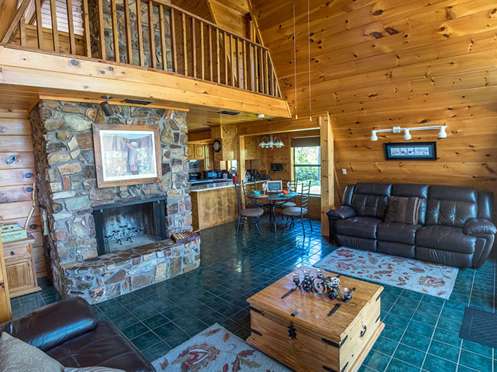 The Great Room inside your luxury mountaintop cabin at Peckerwood Knob Cabins in Oklahoma