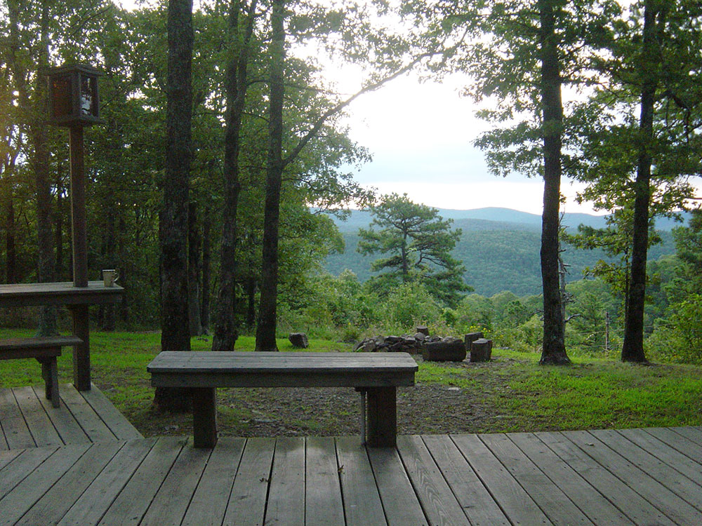 The Sunrise Cabin view at Peckerwood Knob Cabins in Oklahoma