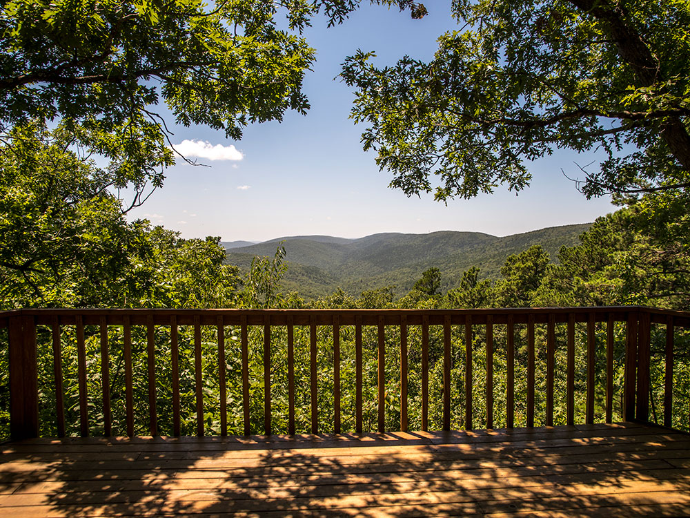 The Kiamichi Mountain View from the deck of our Sunset Cabin rental at Peckerwood Knob Cabins in Oklahoma