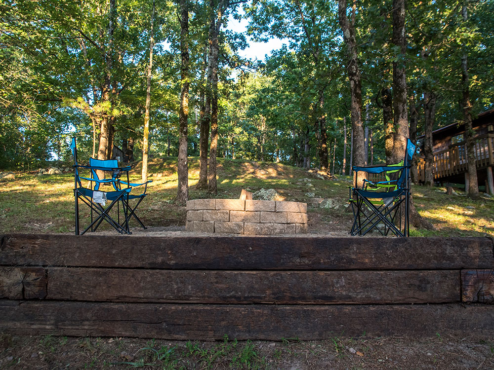 Enjoy the view from your Sunset Cabin rental at Peckerwood Knob Cabins in Oklahoma