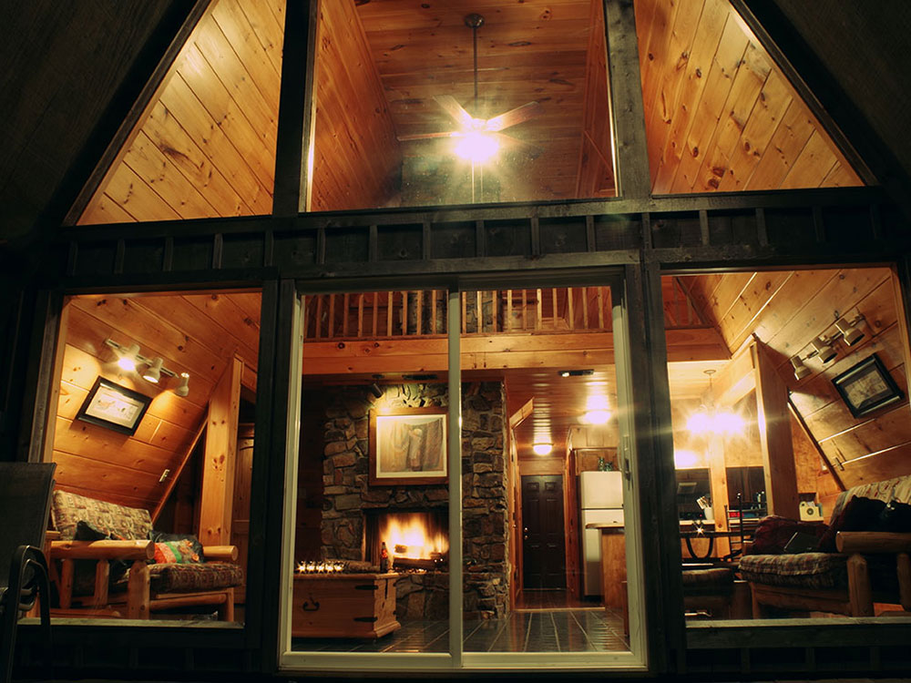 Looking into the Sunrise Cabin's Great Room at Peckerwood Knob Cabins in Oklahoma
