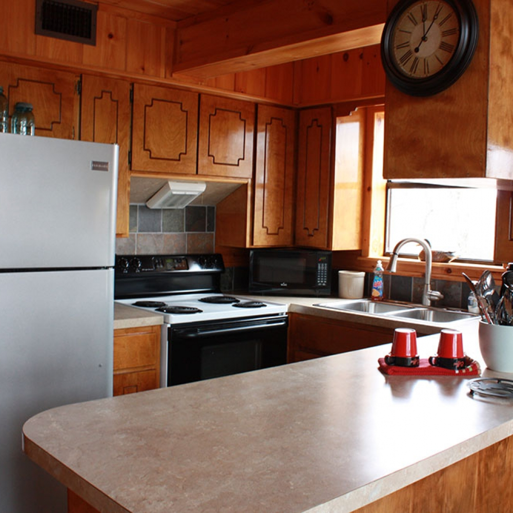 Sunrise Cabin Kitchen at Peckerwood Knob Cabins in Oklahoma